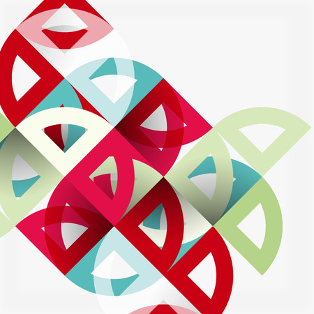 Cut paper circles, mosaic mix geometric pattern design. Business or technology presentation template, brochure or flyer layout, or geometric web banner. Illustration