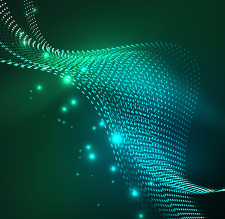Vector wave particles background - 3D illuminated digital wave of glowing particles.