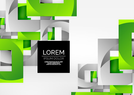 regular tetragon: Squares geometric shapes in light grey 3d space. Vector abstract background