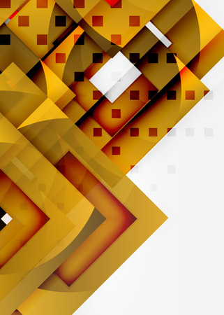 Squares geometric object in light 3d space, vector abstract background