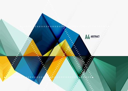 Plantilla abstracta geométrica de tamaño geométrico bajo del vector a4 de Triangular. Triángulos multicolores sobre fondo claro, techno futurista o diseño de negocios