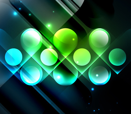 night vision: Vector glowing geometric shapes - round elements and circles on dark background Illustration