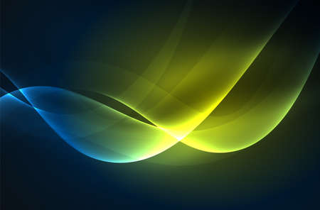 Smoky glowing waves in the dark, vector abstract background Illustration