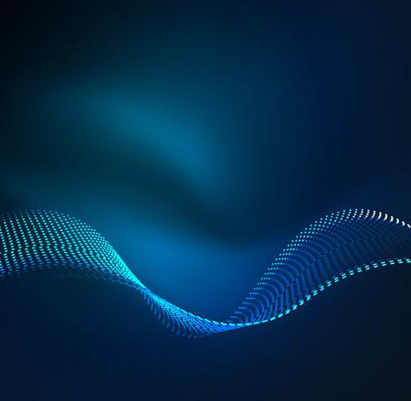 Fondo de las partículas de la onda del vector - 3D iluminó la onda digital de partículas que brillaban intensamente. Futurista y la tecnología de ilustración vectorial, HUD elemento moderno Ilustración de vector