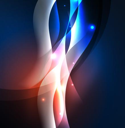 A Vector abstract illuminated neon waves illustration.