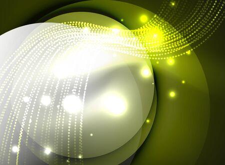 Gloeiende golf gecreëerd met deeltjes op donkere kleurachtergrond. Vector digitale techno illustratie