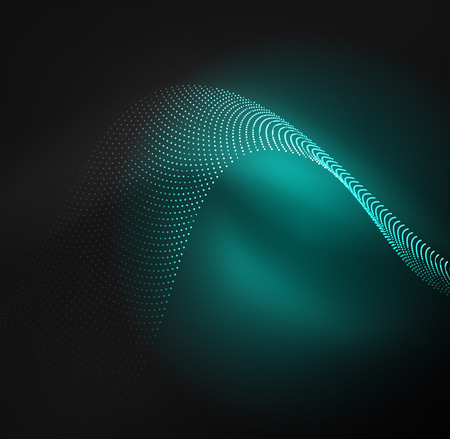 distortion: 3D illuminated wave of glowing particles. HUD design element. Technology digital splash concept