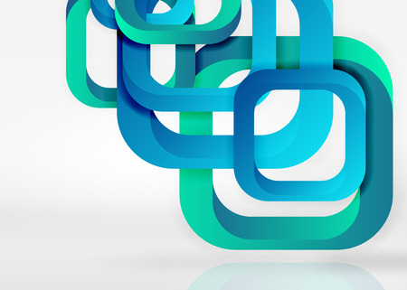 quadrate: Geometric shapes in light grey 3d space Vector abstract background Illustration