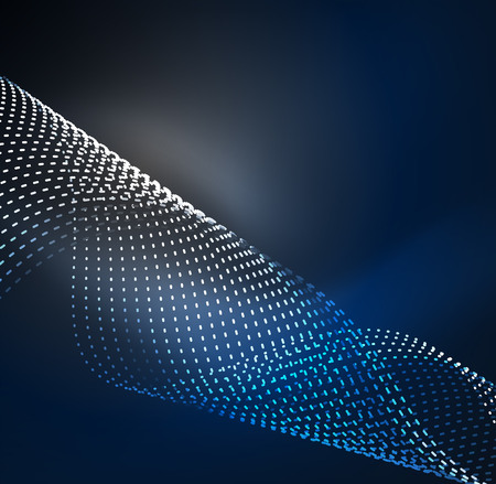 3D illuminated digital wave of glowing particles, Futuristic and technology vector illustration.