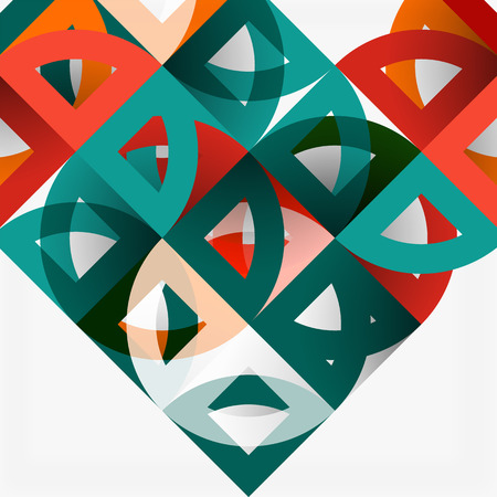 Cut paper circles, mosaic mix geometric pattern design