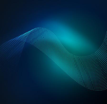 radioactive symbol: 3D illuminated wave of glowing particles. HUD design element. Technology digital splash concept