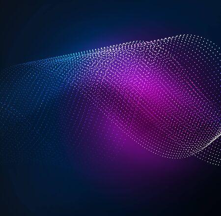 sci: 3D illuminated wave of glowing particles. HUD design element. Technology digital splash concept