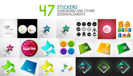 web site design template: Set of vector stickers, labels, web design interface elements and login forms
