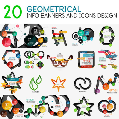 web site design template: Mega collection of vector digital infographics diagram template with stickers