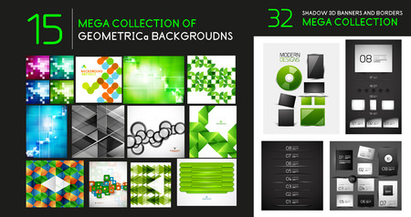 Vector mega collection of geometric abstract backgrounds and dividers Illustration