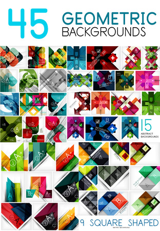 web site design template: Mega collection of geometric abstract background templates - line, square, rectangle and arrow pattern design elements for web banner, advertising presentation and promotional message. Vector Illustration for your design or site