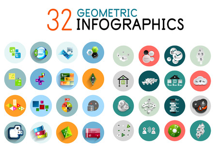 numbers: Vector colorful geometrical info banners
