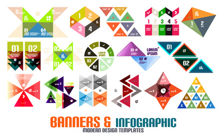 numbers abstract: Geometric infographic templates set