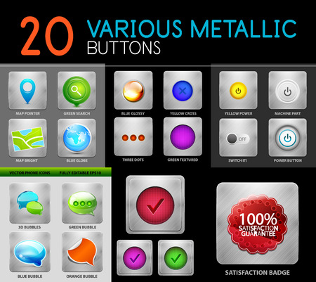 polished: Metallic polish web internet buttons set, vector illustration