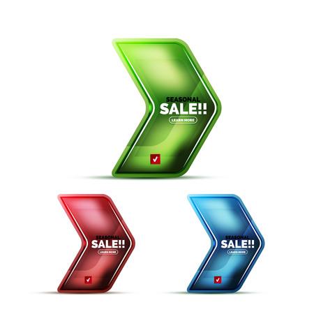 Glossy glass geometric arrow price sale web label realistic icon.