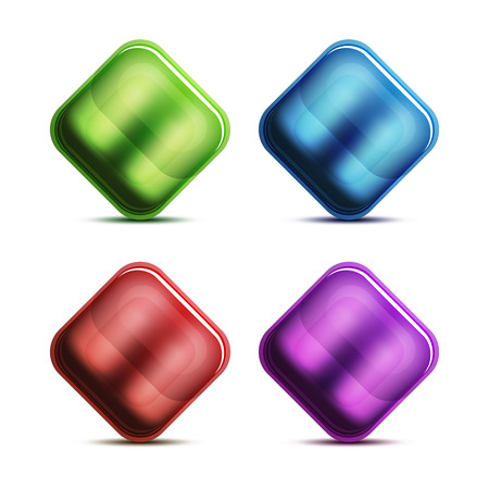 Glass buttons and icons vector illustration.
