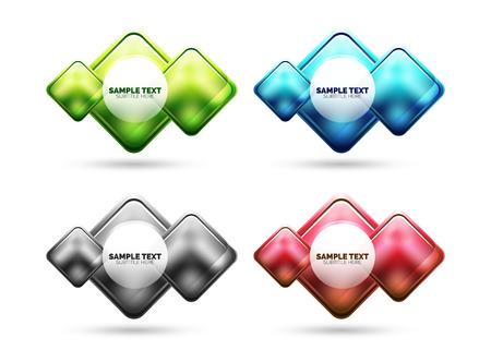 Matte glass square banner design. Minimal hi-tech futuristic banner.