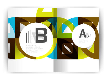 education concept: Geometric a4 annual report cover print template Illustration