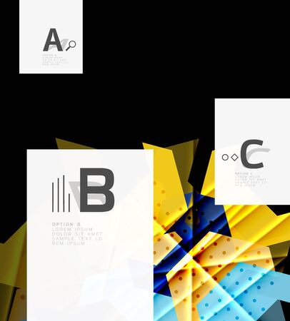 website backgrounds: A colorful abstract shapes on a black background. Illustration