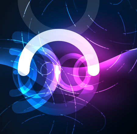 Abstract digital technology background with glowing effects on dark space.