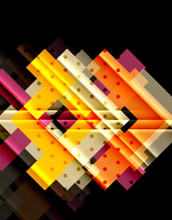 Colorful triangles and arrows on dark background. Illustration