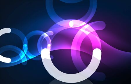 swirl: Abstract digital technology background, round shape with glowing effects on dark space