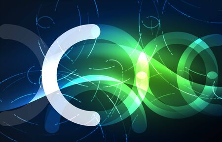 high tech: Abstract digital technology background, round shape with glowing effects on dark space.