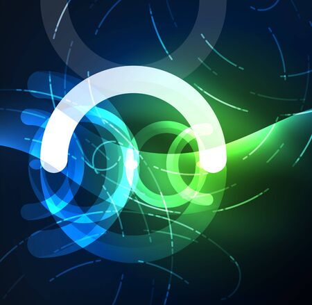 swirl: Abstract digital technology background, round shape with glowing effects on dark space.