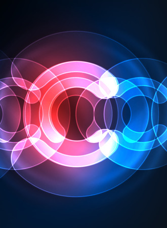Ronde gloeiende elementen op donkere ruimte, abstracte achtergrond Stock Illustratie