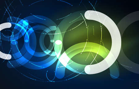 high tech: Abstract digital technology background, round shape with glowing effects on dark space