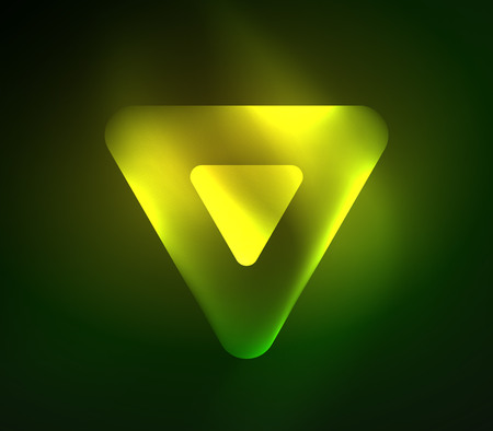 Glass glowing bright triangles on dark space design abstract background.