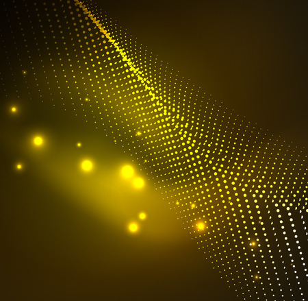3D illuminated wave of glowing particles