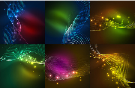 Set of particles smoke wave backgrounds, vector wavy lines created with dots, digital techno templates