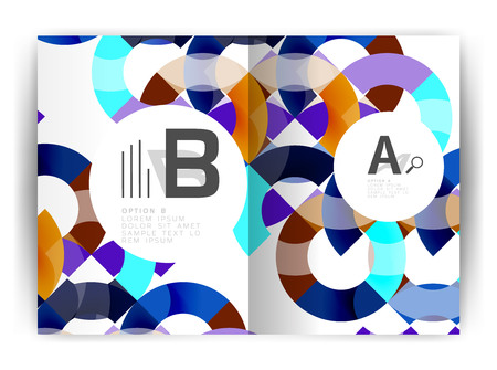 기하 a4 연례 보고서 커버 인쇄 템플릿, 브로셔 템플릿 레이아웃.
