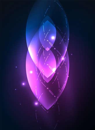 Glowing modern geometric shapes in dark space.
