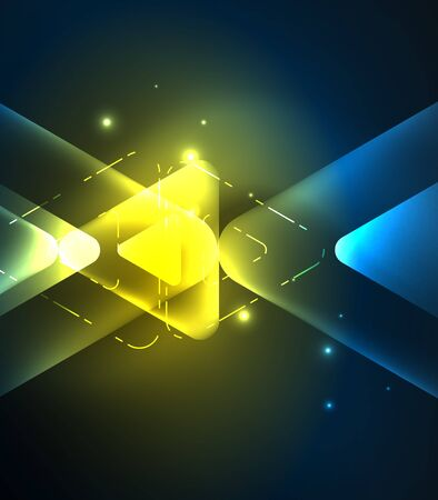 Glass glowing bright triangles on dark space design abstract background. Vector illustration