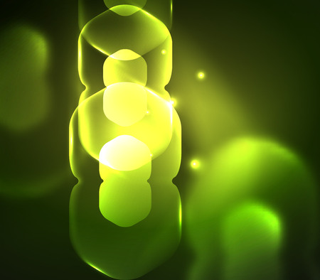 Blurred transparent hexagons on dark, digital abstract background.