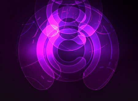 Round glowing elements on dark space abstract background. Illustration