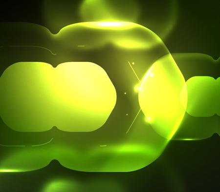 Blurred transparent hexagons on dark, digital abstract. Illustration