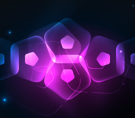 Glowing purple glass transparent pentagans, geometric abstract digital background. Vector illustration Illustration