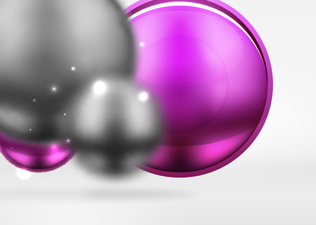Tech blurred spheres and round circles with glossy and metallic surface Illustration