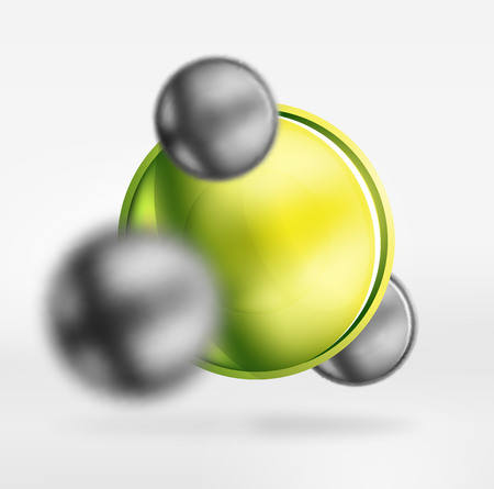 shiny buttons: Tech blurred spheres and round circles with glossy and metallic surface Stock Photo