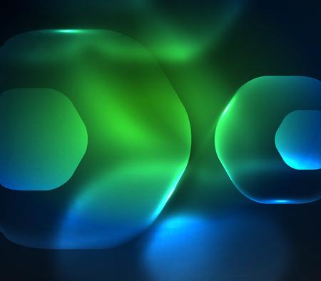 Blurred transparent hexagons on dark, digital dark space.