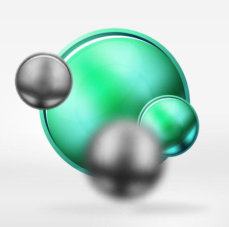 Metallic blurred spheres icon.