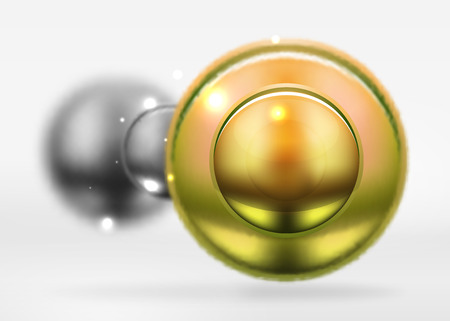 shiny buttons: Tech blurred spheres and round circles with glossy and metallic surface Illustration